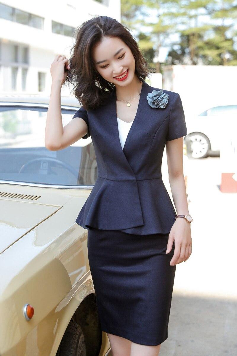 Hotel Front Desk Business Suit Female Summer Suit Skirt 2020 Beauty Salon Overalls Office Uniforms Women Skirt Suits 2 Set Piece