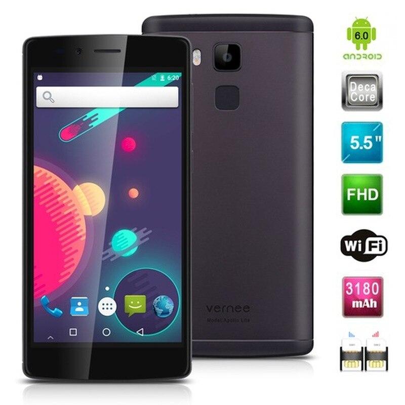 "Apollo Vernee Lite Smartphones 32 4GB RAM GB ROM 5.5 ""4G LTE Android 6.0 MTK6797 Deca Núcleo 16.0MP 3180mAh Impressão Digital de Telefonia móvel"