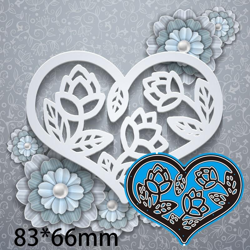 83*66mm Heart Hollow Flower Cutting Dies DIY Scrap Booking Photo Album Embossing Paper Cards