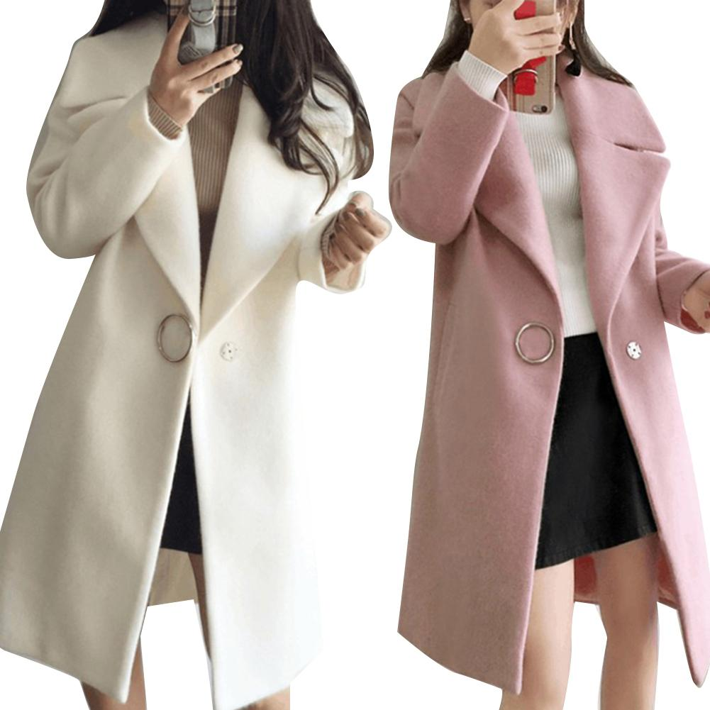 Abrigo cálido de manga larga con solapa de Color liso para mujer a la moda de invierno, prendas de vestir, abrigo de invierno para mujer, prendas de vestir cálidas de alta calidad para mujer