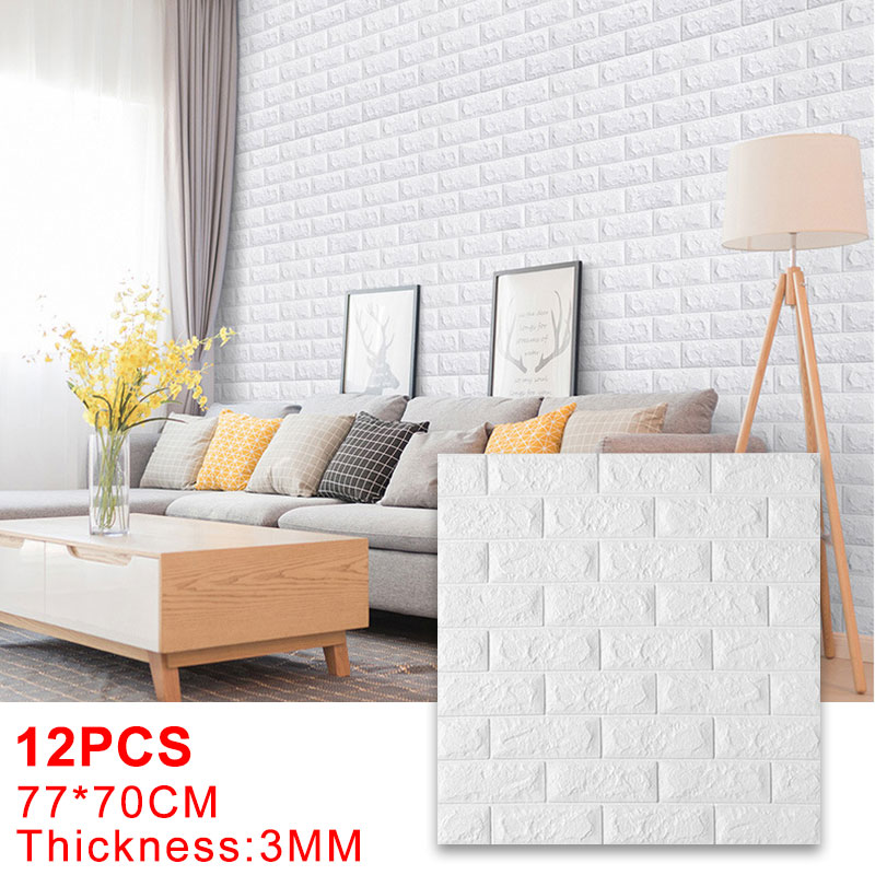 12PCS Self Adhesive Foam Wallpaper 3D Brick Wall Panel Living Room Brick Stickers Bedroom Kids Room Brick Papers Home Decoration