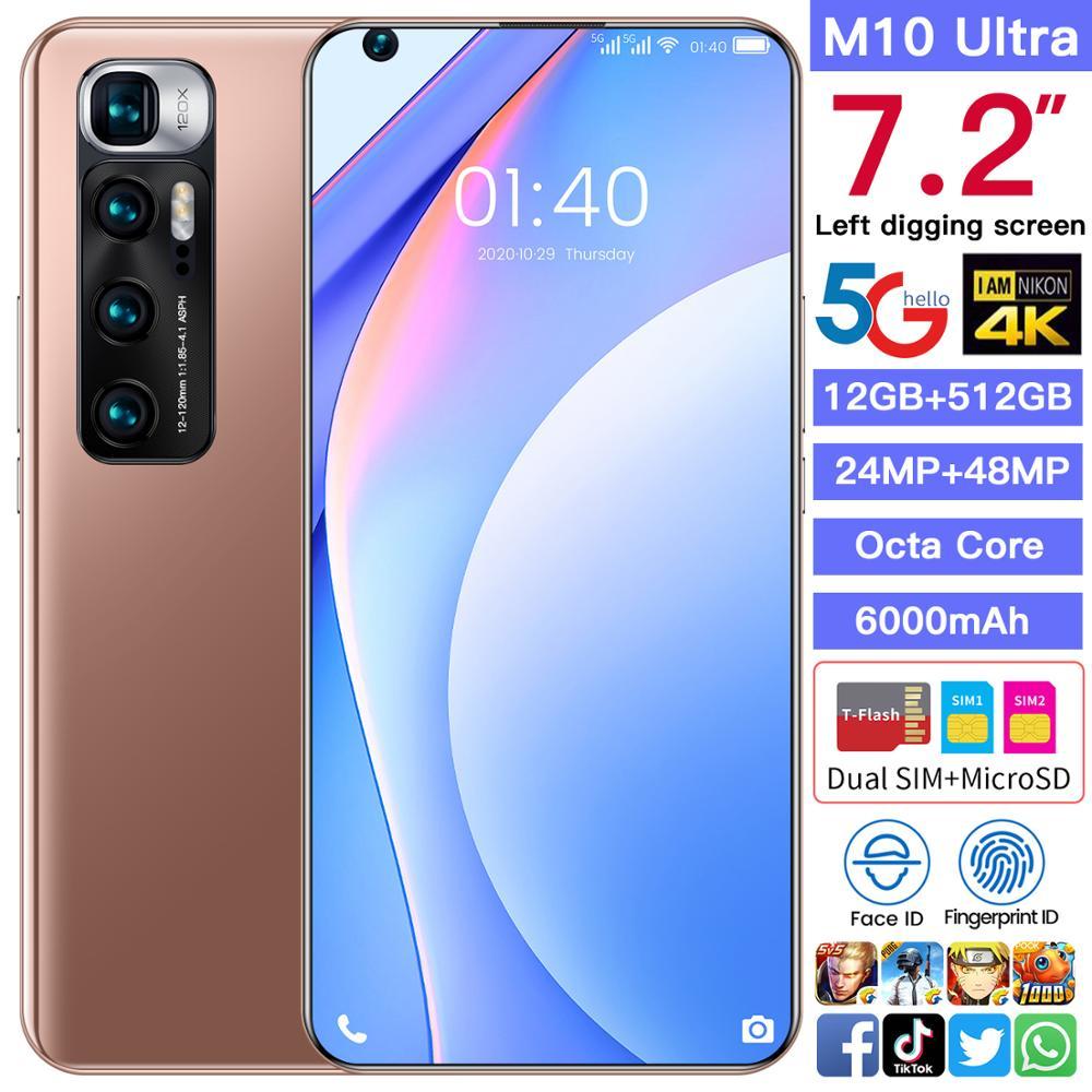 الإصدار العالمي M10 الترا 7.2 بوصة 12/512GB Android10 كامل الشاشة 4G 5G هاتف ذكي ثنائي الشريحة الهاتف المحمول ثماني النواة هاتف محمول