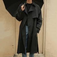 mens trench coat vintage belt decor korean fashion double breasted windbreaker velvet blends mens middle long loose handsome