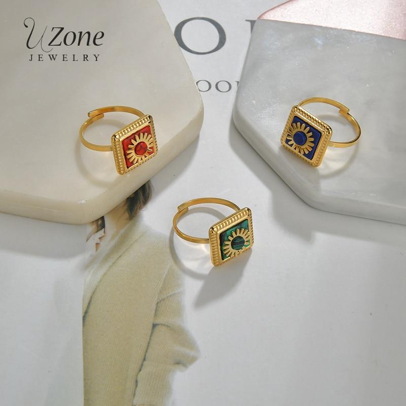UZone nueva moda 3 colores Acero inoxidable flor anillos Piedra Natural malaquita Adjsutable anillos para mujeres regalo de aniversario Anillo