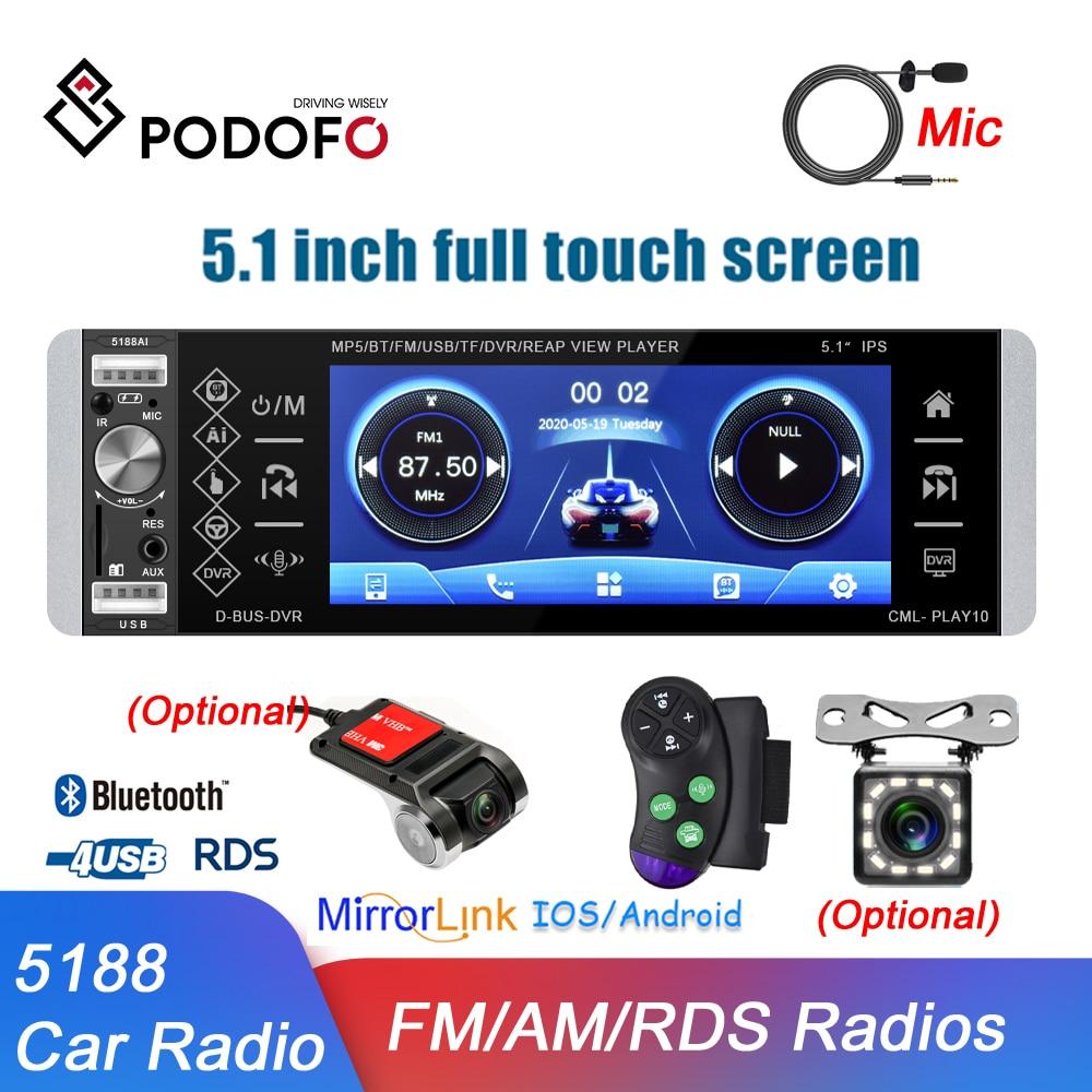 Podofo 5188 1Din راديو السيارة MP5 لاعب ثنائية الاتجاه الربط أندرويد ميرورلينك 5.1 بوصة بلوتوث Autoradio AM FM ستيريو