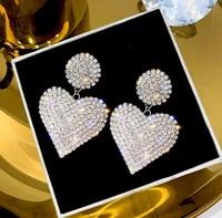 elegant heart earrings womens luxurious geometric full rhinestone earrings korean gold silver color love fashion jewelry gift
