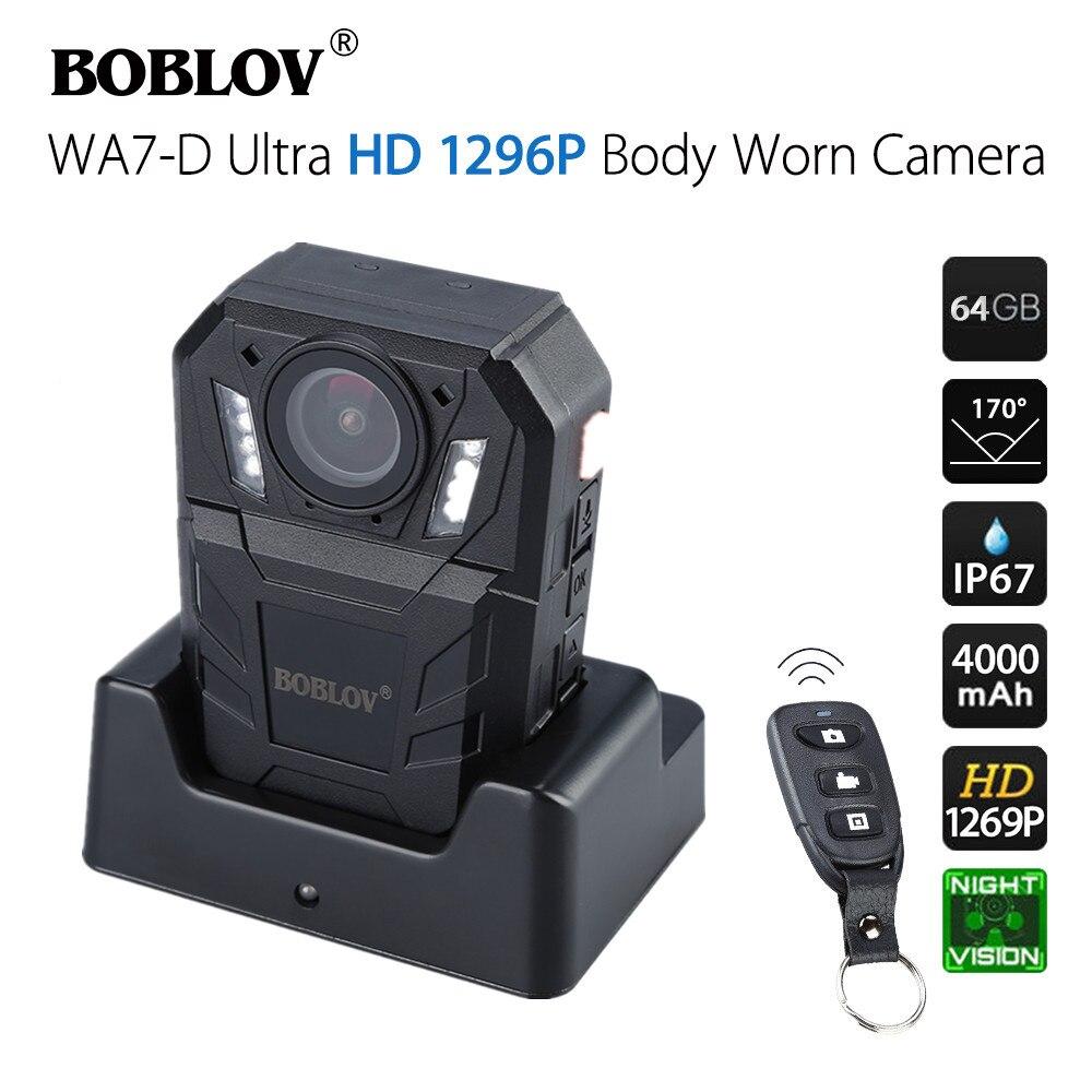 BOBLOV WA7-D الجسم يرتديها كاميرا صغيرة الشرطة HD 1296P كاميرا يمكن ارتداؤها DVR مسجل فيديو التحكم عن بعد كاميرا لرجال الشرطة ث/تهمة قفص الاتهام