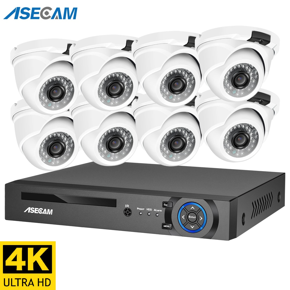 4K الترا HD 8MP الأمن نظام الكاميرا h.265 POE طقم NVR الدوائر التلفزيونية المغلقة في الهواء الطلق المعادن الأبيض قبة ip كاميرا مراقبة فيديو مجموعة