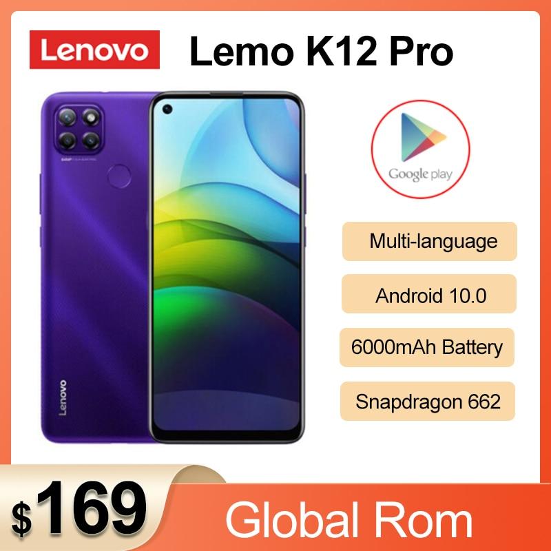 Перейти на Алиэкспресс и купить Оригинальный телефон Lenovo Lemo K12 Pro 4G мобильный телефон 6,8 дюймов Snapdragon 662 Octa Core 6000 мАч аккумулятор большой емкости 64,0 задняя камера смартфона