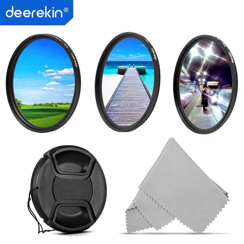 Deerekin 55 milímetros Polarizador CPL + UV + Estrela (6x) kit de Filtro de lente para Nikon Câmera Digital Sony D3500 D3400 55mm Nikon Sony Canon Lentes