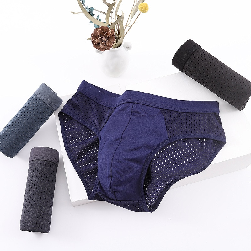 10 Pcs/Lot Quick-Drying Mesh Ice Silk Men's Briefs Men's Modal Breathable Refreshing And Comfortable