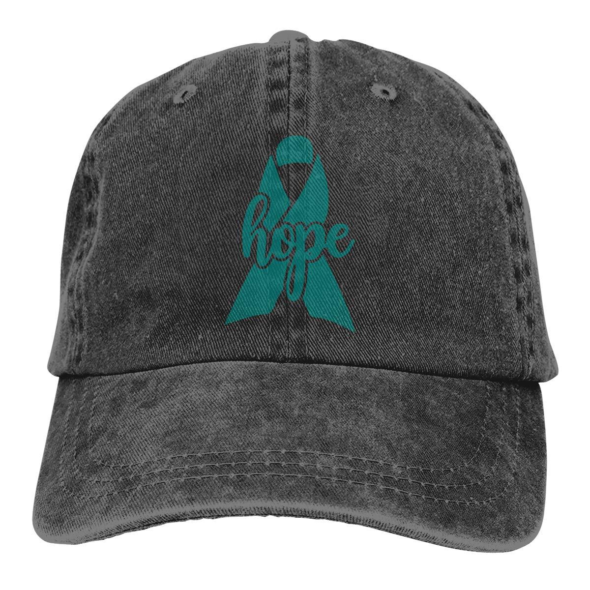 Gorras de béisbol ajustables para hombres y mujeres con cinta de concienciación sobre el cáncer de ovarios Hope, gorra de tela vaquera de Hip Hop