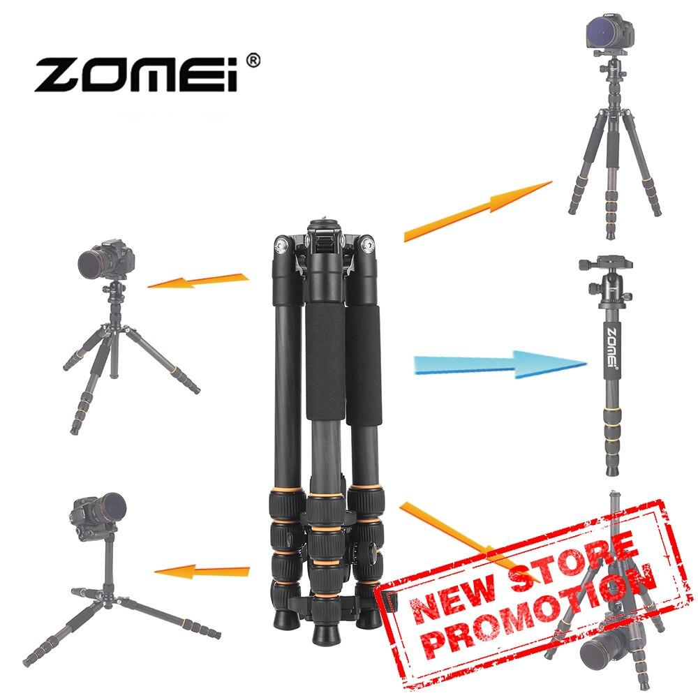 Zomei Q666C מקצועי נסיעות נייד סיבי פחמן חצובה חדרגל & כדור ראש עבור DSLR מצלמה דיגיטלית stand