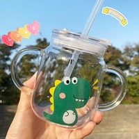 japanese double handle straw cup cartoon childrens milk high borosilicate glass cup microwave oven heating band scale