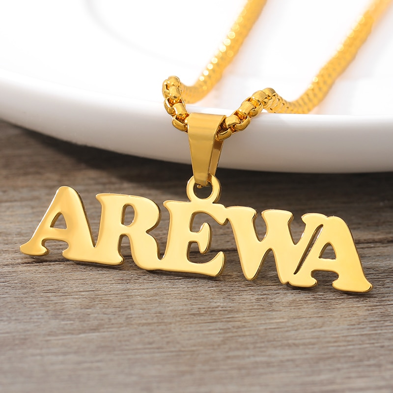 Personalized Name Necklace Collares Mujer Handmade Custom Name Gold Chain Pendant Necklaces For Women Men Hip Hop Jewelry BFF hip hop jewelry cuban chain customized nameplate necklaces for women men punk gold tone solid personalized custom name necklace