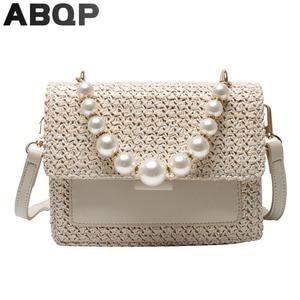 Women Straw Bags 2021 New Luxury Pearl Handle Female Beach Shoulder Bag Zipper Pocket Travel Beach Straw Handbags For Girls