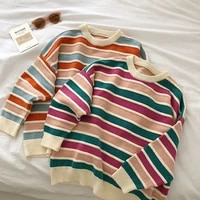 new 2022 women stripe sweater autumn winter loose long sleeve pullover tops korean ladies knitted patchwork korean sweaters