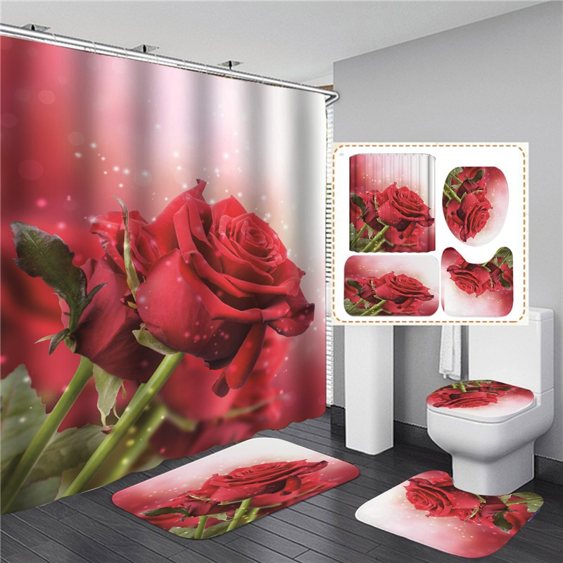 White Floral Trees Roses Printed Shower Curtain Set Simple Bath Products Bathroom Decor with Hooks Anti-slip Bathing Mats Rugs