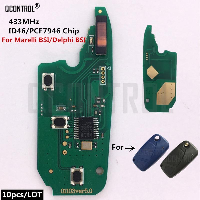 QCONTROL, llave de Control remoto de coche Fob, placa de circuito electrónico para FIAT Fiorino Qubo Panda EVO 433MHz para Delphi BSI / Marelli BSI