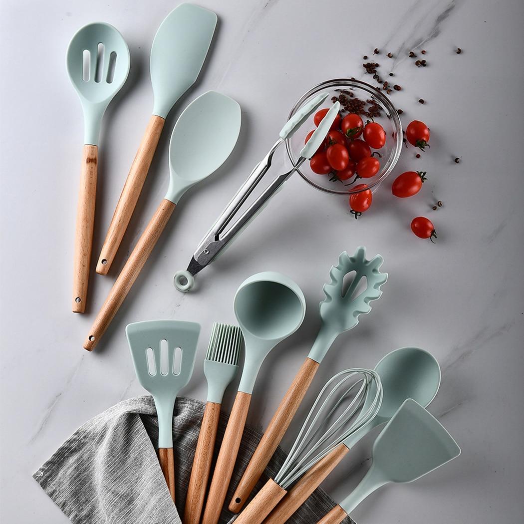 12 قطعة مجموعة أدوات المطبخ سيليكون غير عصا تجهيزات المطابخ مقبض خشبي سهلة لتنظيف البيض المضارب مجرفة ملعقة أواني المطبخ