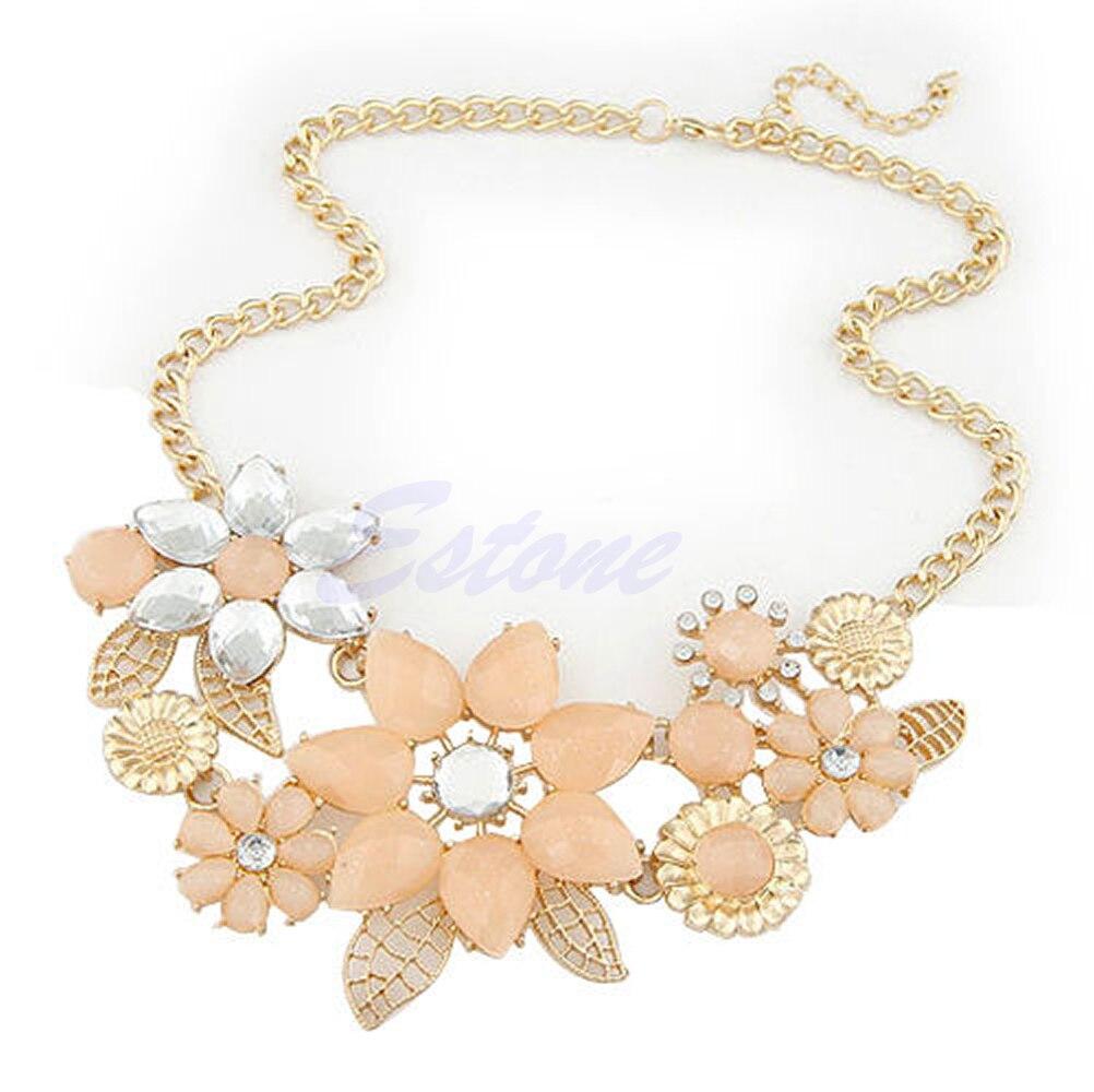 Nova senhora moda resina colorida flor grande corrente dourada gargantilha bib colar