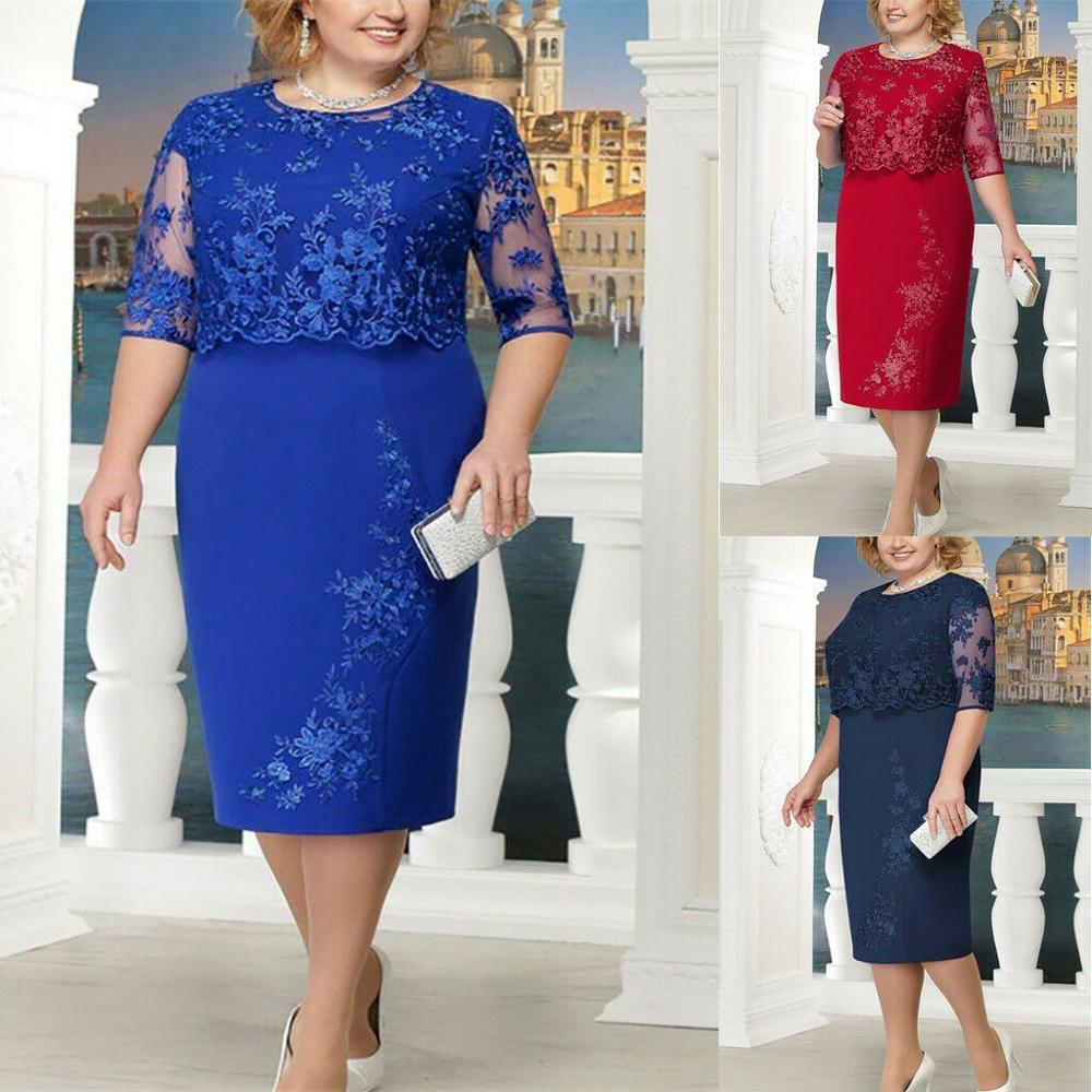 Plus Size Womens Fashion Lace Elegant Mother of Bride Dress Knee Length Dress