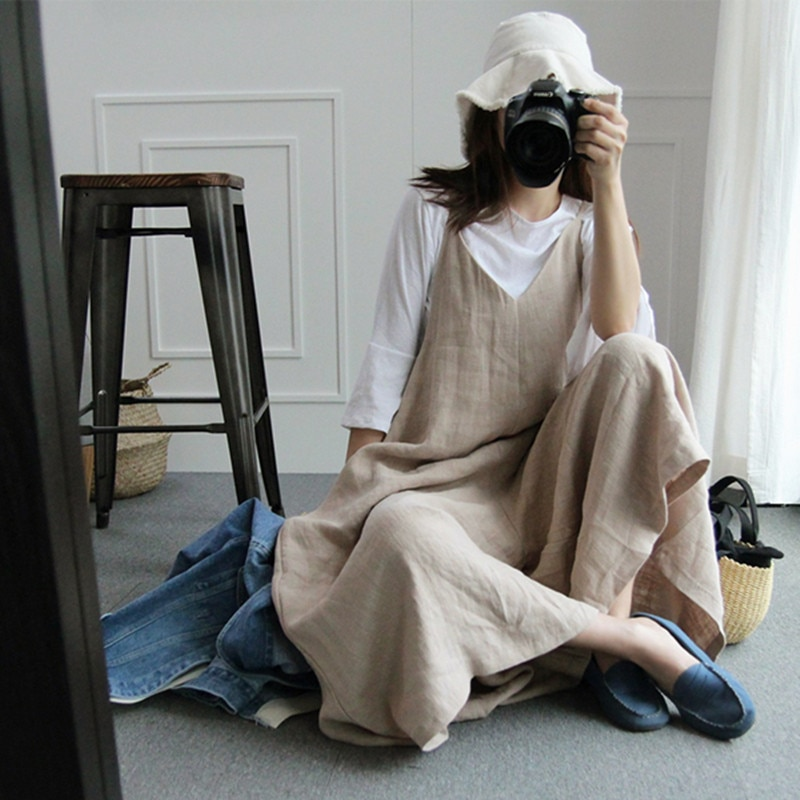 Summer Korean-style Wide-Leg One-piece Divided Skirt Plus-sized Cotton Linen Suspenders Casual Style Versatile Loose Linen Suspe