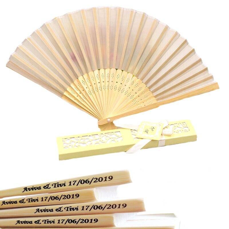 60pcs/lot Custom Folding Fan Personalized Bride & Groom's Name & Date Silk Wedding Hand Fan with Gift Box