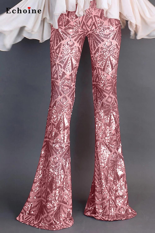 Mulher lantejoulas bell bottoms longas pernas largas calças sexy charme flares sweatpant elástico calças festa de natal nightclub streetwear