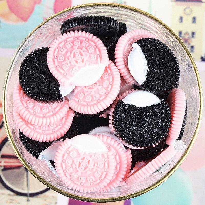 10 Uds Baba encantos Rosa Oreo Cookies resina plastilina accesorios para Slime cuentas haciendo suministros para artesanías de álbum de recortes para bricolaje regalo
