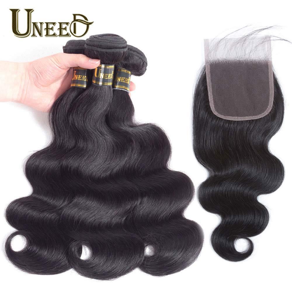 2/3 Bundles With Closure Mid-Length Brazilian Body Wave Bundles With Closure Remy 100% Human Hair Bundles With Closure Short Hai