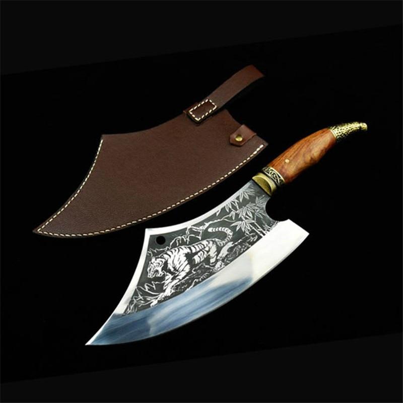 اكسسوارات المطبخ الصلب سكاكين المطبخ اليدوية تزوير أدوات شفرة مثبتة السكاكين الخضار اللحوم تقطيع الساطور سكين الطاهي