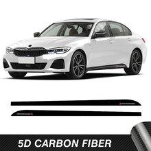 2 Pcs Car Door Side Stripes Skirt Sticker M Performance 5D Carbon Fiber Vinyl Body Decal For BMW 3 Series G20 M340i Accessories