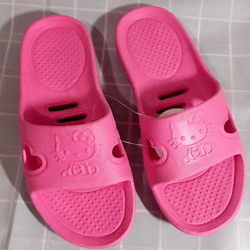 Banho Rosa Kitty Bonito Chinelos Mulheres Casa De Borracha Sapato Leve Grife Sandália Flip Flops Praia Plana Desliza Sapatos Gatinho