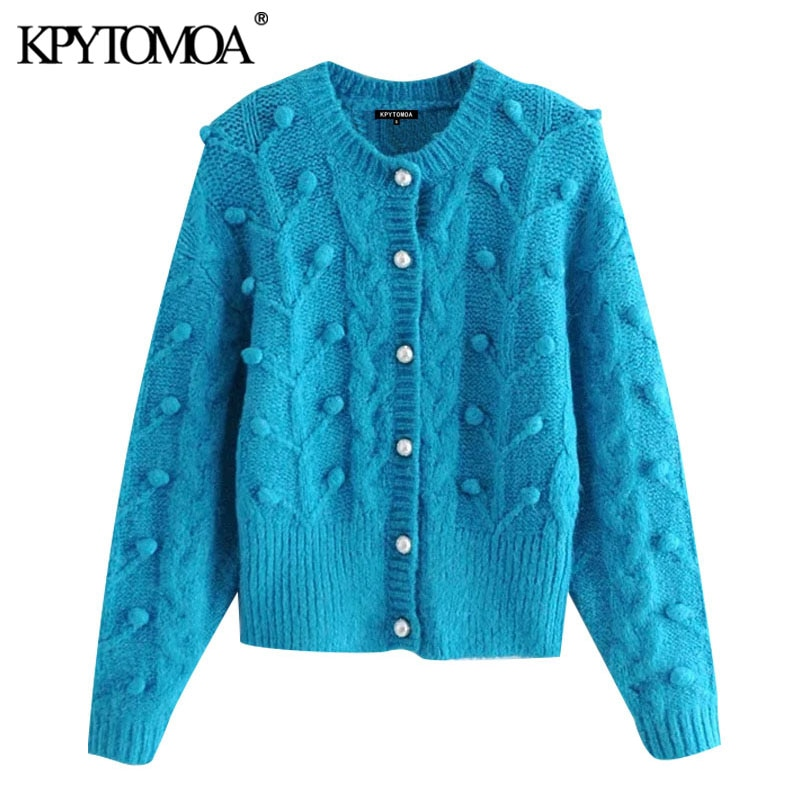 KPYTOMOA-كارديجان عتيق منسوج بأكمام طويلة للنساء ، أزرار لؤلؤية مزيفة ، بوم بوم ، ملابس خارجية أنيقة ، موضة 2021