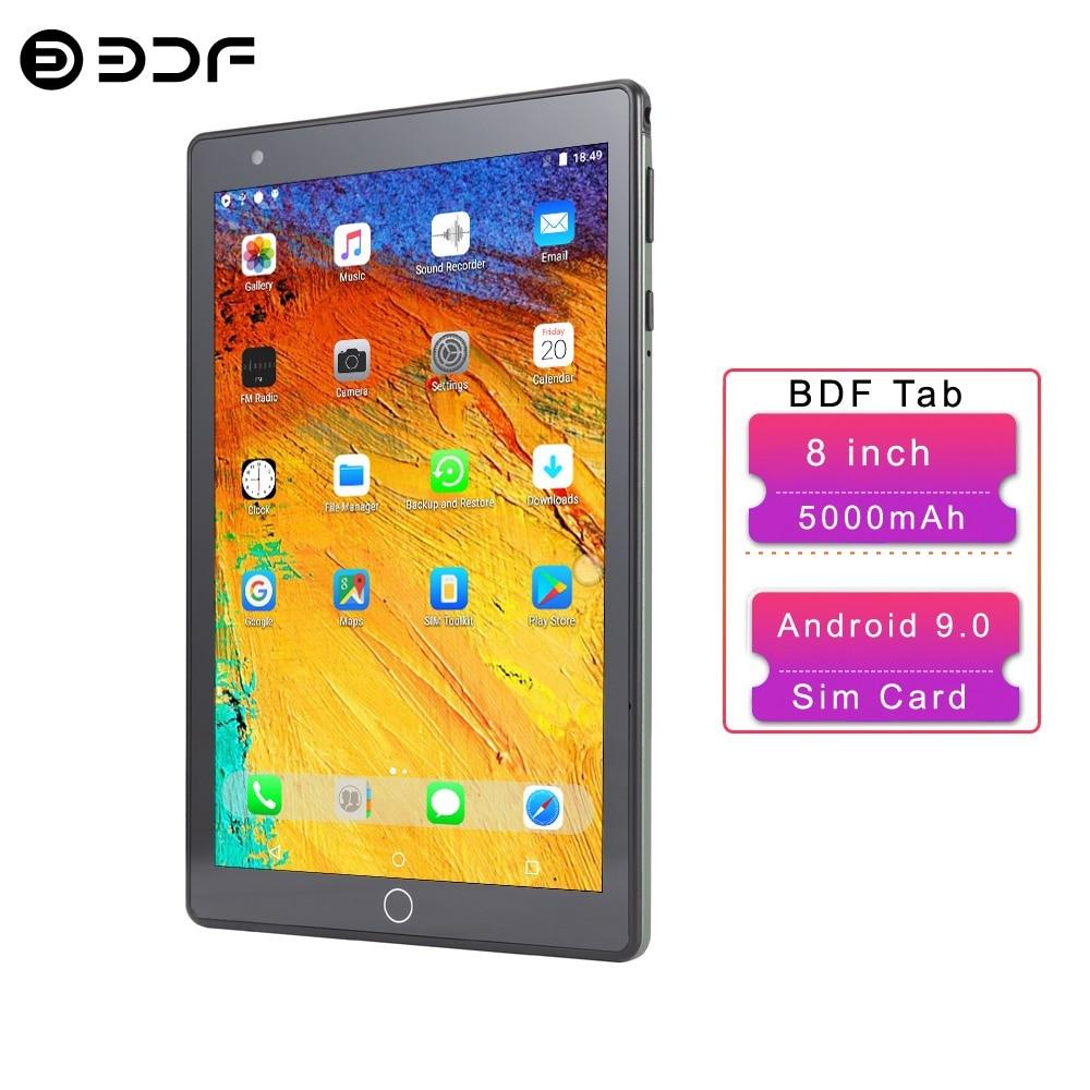 BDF Новый 8-дюймовый планшетный ПК Android 9,0 четырехъядерный 3G сеть Google Play 2 Гб ОЗУ 32 Гб ПЗУ две камеры WiFi Две SIM-карты Телефонные планшеты