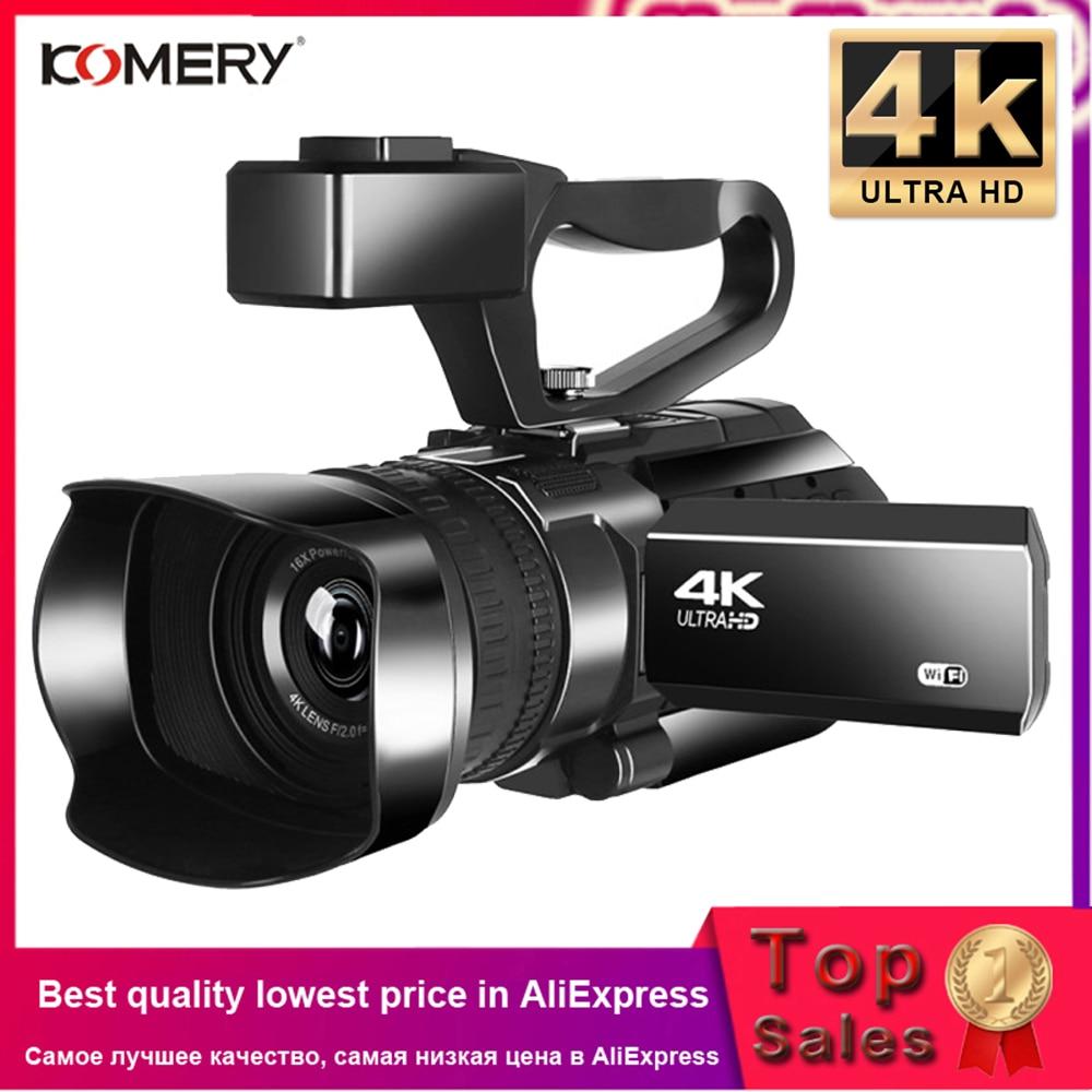 KOMERY-كاميرا فيديو رقمية مع ميكروفون, كاميرا فيديو 4K كاميرا فيديو رقمية 3.0 بوصة شاشة تعمل باللمس رؤية ليلية واي فاي مع ميكروفون