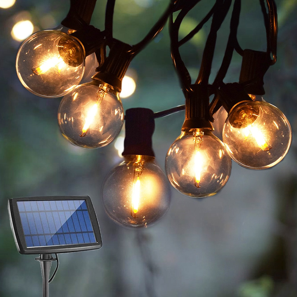 Solar String Light Outdoor Solar Light LED Bulb G40 Solar Garland USB Rechargeable Street Garland For Garden Decoration