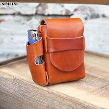 Echtes Leder Zigarette Fall Box Abdeckung Halter Für Männer Vintage Handgemachte Rinds Männlichen Kleine Gürtel Taille Taschen Packs Hohe Qualität