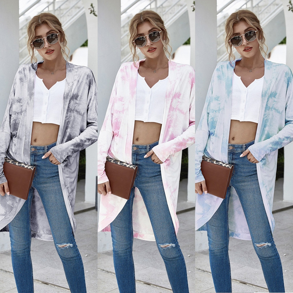 Womens Shirt Summer Beach Cardigan Tie-dye Print Long Sleeve Loose Open Front Cover Up Tops Cardigan Blouse Swimsuit ropa платье