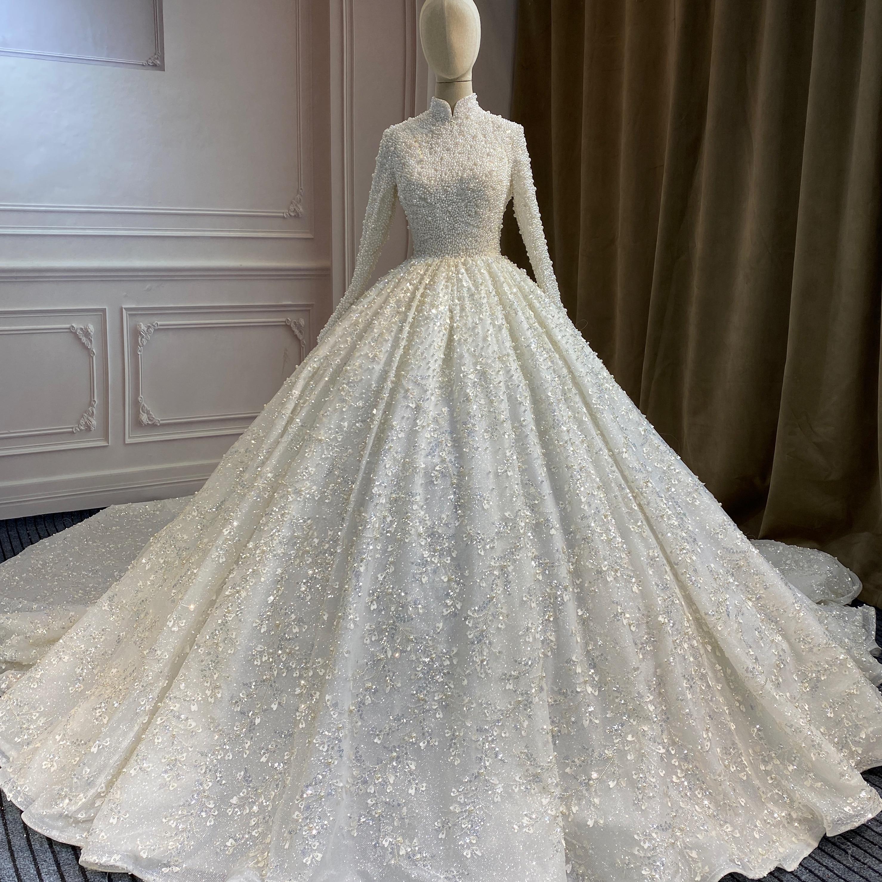 Marnham Modest Custom Ivory White Arab Lace Muslim Bridal Gown Long Sleeves High Neck Wedding Dress Full  Pearls