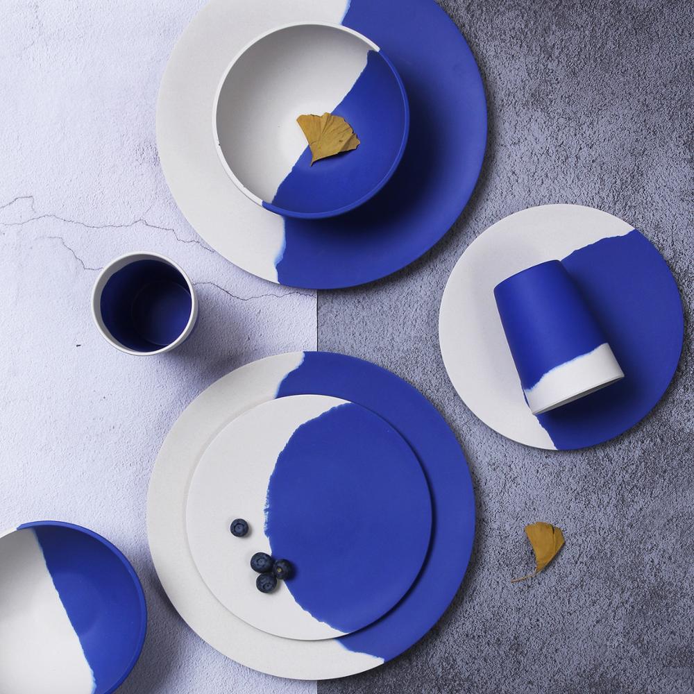 Lekoch الخيزران الألياف 4 قطعة/8 قطعة أدوات المائدة مجموعة الأزرق والأبيض لوحة الخيزران مسحوق الألياف أواني الطعام لوحة عاء كوب مجموعة ل حزب