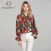 SEQINYY Chiffon Blouse 2020 Summer Spring New Fashion Design Women Long Sleeve Loose Red Hydrangea Print Top