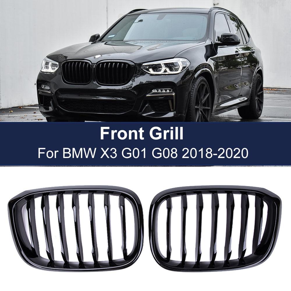 Car Front Kidney Grill For BMW3 4 X3 X4 G01 G02 G08 2018 2019 2020 Single Line 1slat Gloss Matte Black Bumper Racing Grills недорого