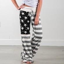 Sagace Drawstring Loose Pants Women Casual Elastic Waist Wide Leg Pants American Flag Print Pantalon Mujer 2020 New