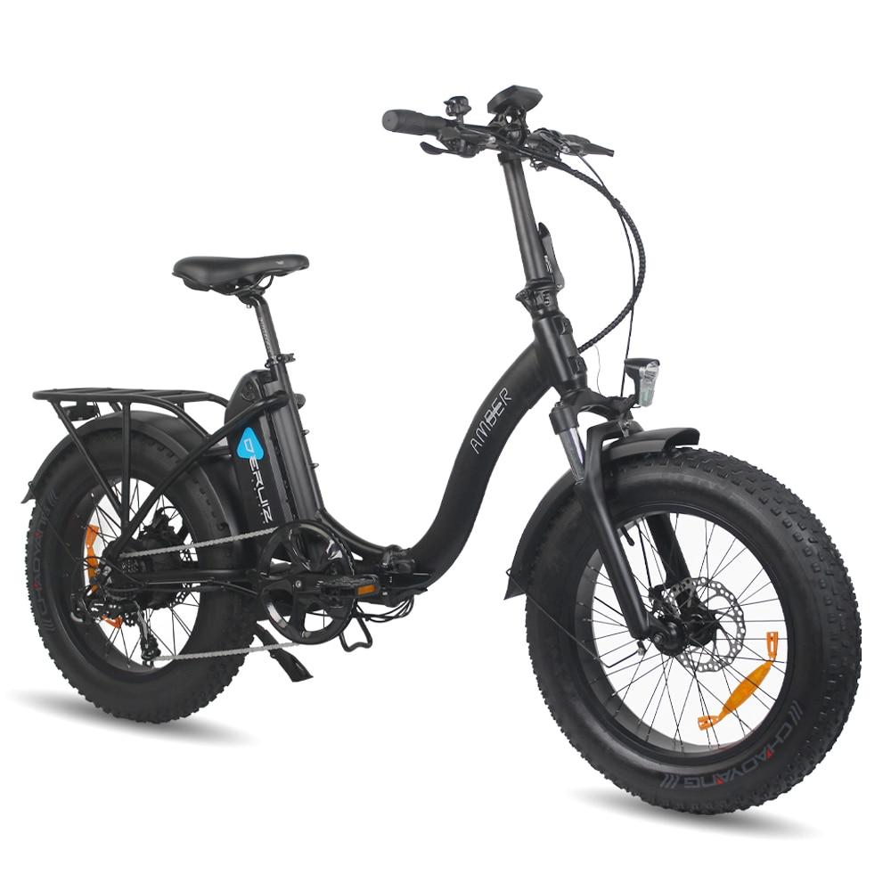 DERUIZ AMBER Electric Bike Folding 20 Inch Snow Bicycle 48V 500W 624WH Lithium Battery Ebike Fat Tire Women Men's E-bike