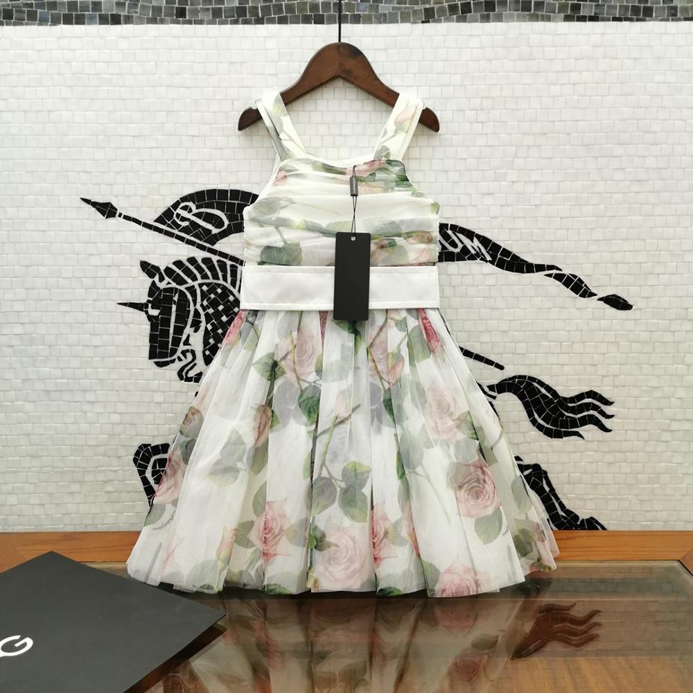 2020 летнее платье принцессы для девочек Классические Вечерние платья для танцев с 3D принтом и рюшами для девочек vestido infantil От 3 до 8 лет