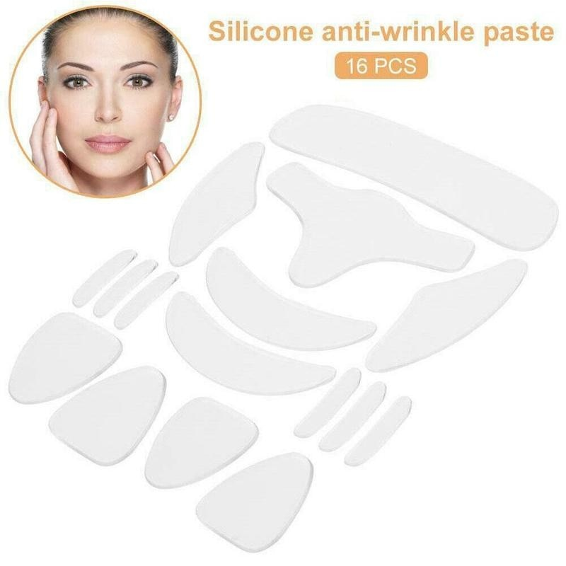 16pcs Anti Wrinkle Patches Rimpel Pads Reusable Silicone Wrinkle Removal Sticker Face Forehead Neck