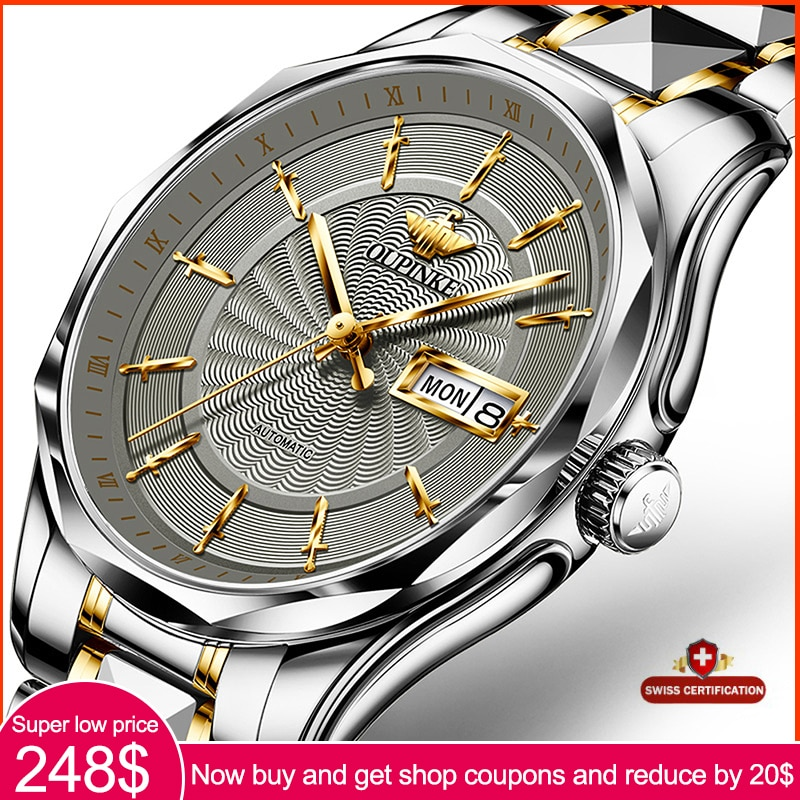 Top Brand OUPINKE Men Automatic Mechanical Watch Waterproof Stainless Steel Strap Skeleton Men Watch Gift For Male
