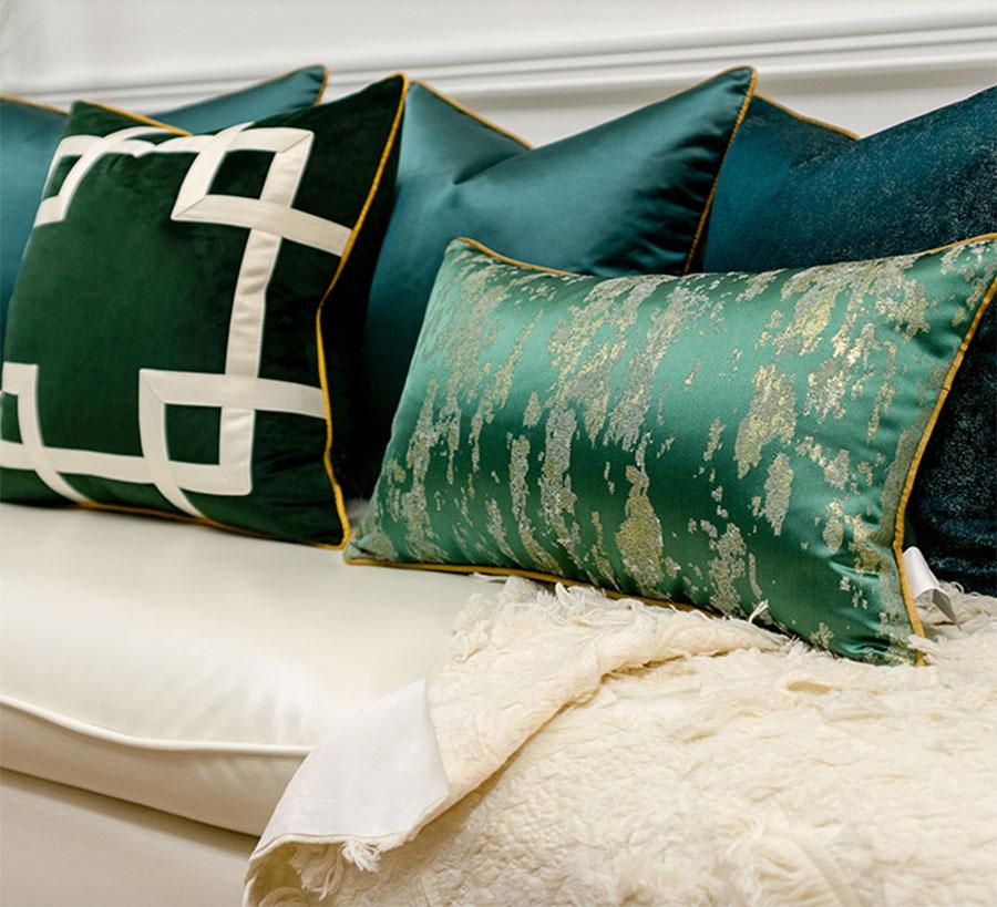 Funda de almohada/almohadas geométricas verdes europeas y americanas, funda de cojín para espalda moderna 30X50 45 50, funda de cojín decorativo